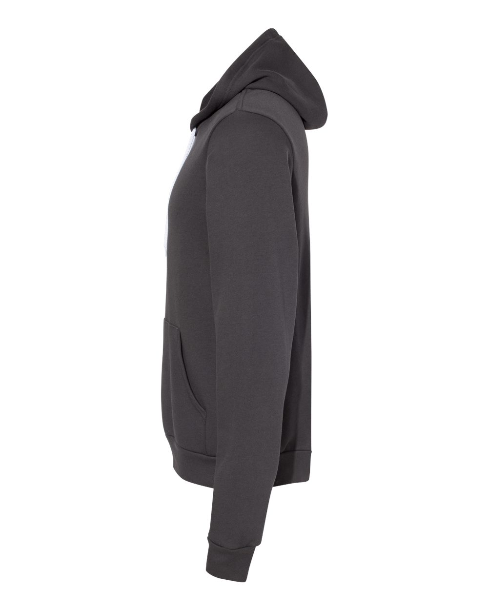 BELLA & CANVAS Customizable Hoodie in Dark Grey- Side View