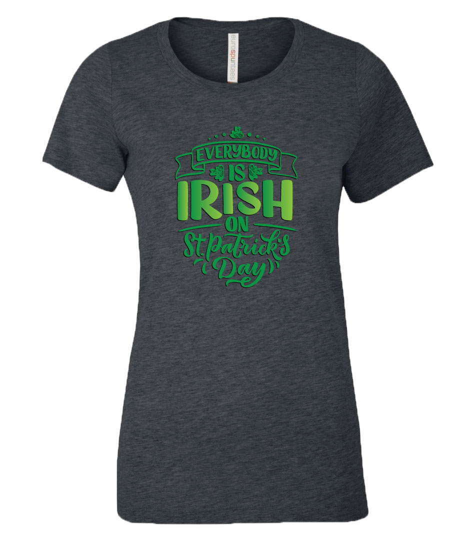 Everybody is Irish on St. Patrick's Day T-Shirt in Charcoal Heather
